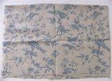 「即納F」はぎれ70x50:tdjメサンジュ(ベージュ麻地ベースブルー) /110g