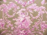 「即納F」布:ブランコに乗った少女(麻色ベース紫) /380g