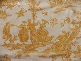 「取寄せ」布:復刻版tdj四季の喜び(トワル、白ベースイエロー)長さ50cm単位 /160g