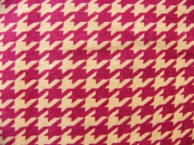画像1: 「即納F」はぎれ75x50:ベロア ピエ・ド・プール(千鳥格子、ピンクボルドー、ベージュ)/105g (1)