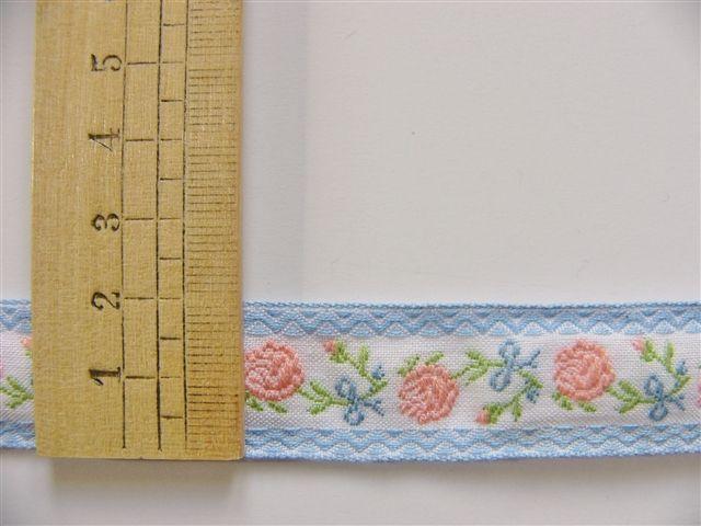 画像2: 「即納F」コットンリボン刺繍ローズ 20mm(水色・ピンク) /12g
