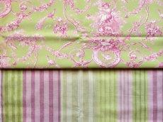 画像10: 「F在庫」はぎれ68×50:バーリントン(ストライプ、濃いピンク・グリーン) (10)