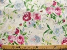 画像2: 「即納F」はぎれ75x50:シリエル(麻地、ピンク・ブルー、ホワイトベース) /115g (2)
