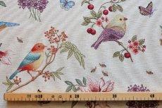 画像2: 「即納F」はぎれ70x50:ゴブラン織りプランタン(ベージュベース小鳥)/ 165g (2)