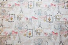 画像10: 「即納F」はぎれ70x50:リボンデコレーション・パリ(ジャカード、ベージュベースグレイ、ピンク)/140g (10)