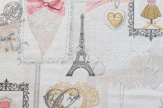 画像11: 「即納F」はぎれ70x50:リボンデコレーション・パリ(ジャカード、ベージュベースグレイ、ピンク)/140g (11)