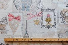画像2: 「即納F」はぎれ70x50:リボンデコレーション・パリ(ジャカード、ベージュベースグレイ、ピンク)/140g (2)