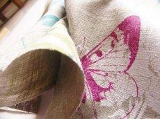 画像5: 「即納F」はぎれ75x50:マリポサリオ(麻地、蝶、麻色ベースブルー・フーシャ)/125g (5)
