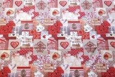 画像9: 「即納J」はぎれ70x50:メリークリスマス(パッチワーク風、赤・ベージュ)/ 95g (9)