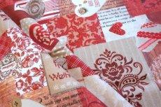 画像15: 「即納J」はぎれ70x50:メリークリスマス(パッチワーク風、赤・ベージュ)/ 95g (15)
