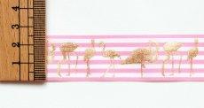 画像2: 「J即納」リボン25mm:ストライプ・フラミンゴ(ピンク)/6g (2)