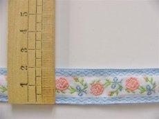 画像2: 「即納F」コットンリボン刺繍ローズ 20mm(水色・ピンク) /12g (2)