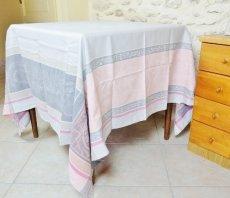 画像2: 「即納F」テーブルクロス160x160cm:ヴェルサイユ(ピンク・グレイ、ジャカード、テフロン加工) /570g (2)