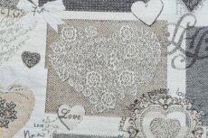 画像13: 「F在庫」はぎれ70x50:ゴブラン織り ハートのレース(グレイ)/140g (13)