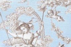 画像12: 「即納F」布:ブランコに乗った少女(水色ベースブラウン)140×200cm /760g (12)