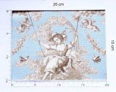 画像3: 「即納F」布:ブランコに乗った少女(水色ベースブラウン)140×200cm /760g (3)