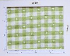画像4: 「即納J」はぎれ70×50:ヴィシーチェック・ハート(アニスグリーン)/105g (4)