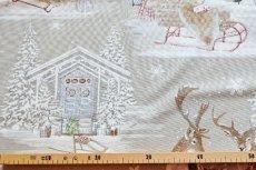 画像3: 「即納F」はぎれ70×50:雪のレンヌ(コットン地、麻色)/90g (3)