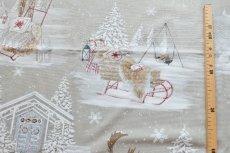 画像4: 「即納F」はぎれ70×50:雪のレンヌ(コットン地、麻色)/90g (4)