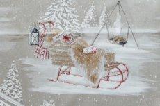 画像11: 「即納F」はぎれ70×50:雪のレンヌ(コットン地、麻色)/90g (11)