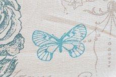 画像11: 「移動中」はぎれ75x50:クラリッサ(麻地、ブルー、ホワイトベース) /115g (11)