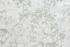 画像11: 「即納J」はぎれ70x50:ビバリー・ロイラ(グリーン、ジャカード、花・鳥かご) /135g (11)