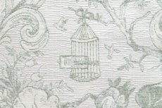 画像12: 「即納J」はぎれ70x50:ビバリー・ロイラ(グリーン、ジャカード、花・鳥かご) /135g (12)