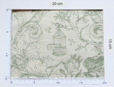 画像3: 「即納J」はぎれ70x50:ビバリー・ロイラ(グリーン、ジャカード、花・鳥かご) /135g (3)