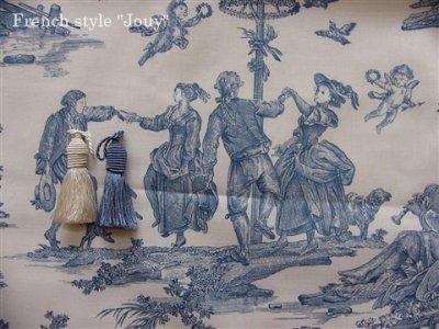 画像1: 「取寄せ」布:復刻版tdj四季の喜び(トワル、白ベースブルー)長さ50cm単位 /160g