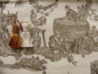画像1: 「取寄せ」布:復刻版tdj四季の喜び(トワル、白ベースブラウン)長さ50cm単位 /160g