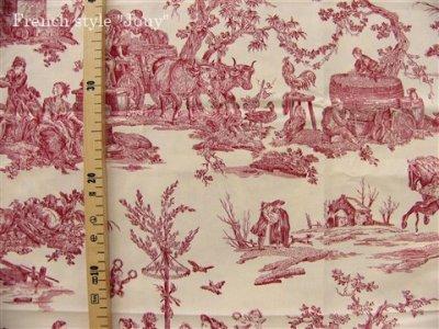 画像2: 「取寄せ」布:復刻版tdj四季の喜び(トワル、白ベース赤)長さ50cm単位 /160g