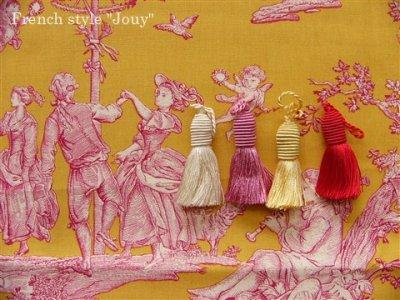 画像1: 「取寄せ」布:復刻版tdj四季の喜び(トワル、イエローベースピンク)長さ50cm単位 /160g