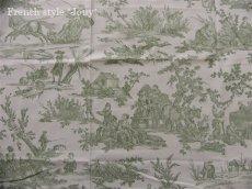 画像1: 「取寄せ」布:復刻版tdj四季の喜び(トワル、白ベースグリーン)長さ50cm単位 /160g (1)