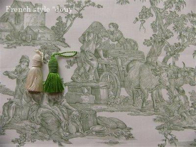 画像1: 「取寄せ」布:復刻版tdj四季の喜び(トワル、白ベースグリーン)長さ50cm単位 /160g