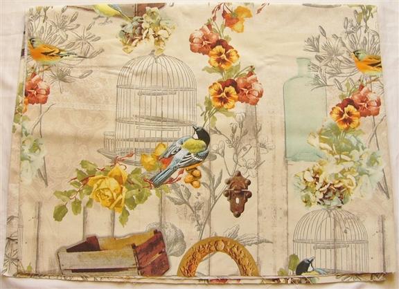 画像1: 「即納J/F」はぎれ70x50:メザンジュ・ブルー(鳥、花、オレンジ、ベージュベース) /90g (1)