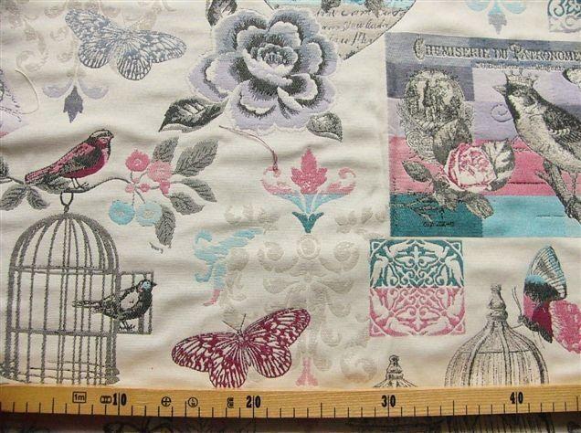 画像1: 「即納F」布:シュミズリー(ジャカード、蝶、バラ、水色、ブルー、ピンク) / 620g (1)