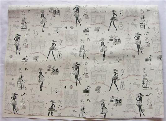 画像1: 「即納F」はぎれ70x50:プチ・ローブ・ド・パリ(合皮、白ベースピンク)/ 215g (1)