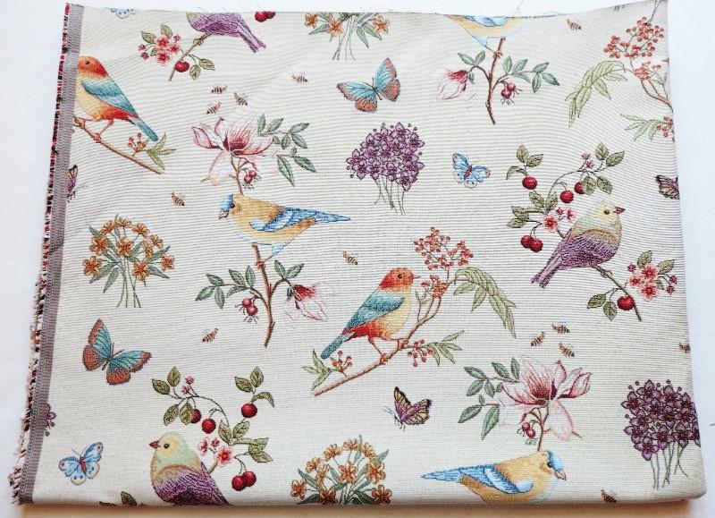画像1: 「即納F」はぎれ70x50:ゴブラン織りプランタン(ベージュベース小鳥)/ 165g (1)