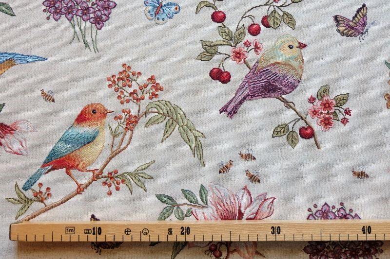 画像1: 「即納J/即納F」はぎれ70x50:ゴブラン織りプランタン(ベージュベース小鳥)/ 165g (1)