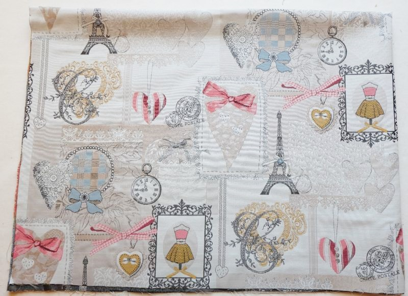 画像1: 「即納F」はぎれ70x50:リボンデコレーション・パリ(ジャカード、ベージュベースグレイ、ピンク)/140g (1)