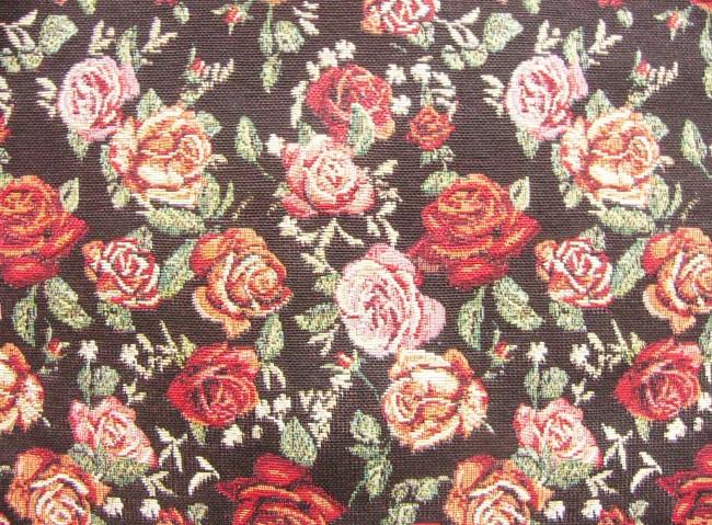 画像1: 「即納F」はぎれ70x50:ゴブラン織りバラ(黒ベース、柄・小)/ 170g (1)