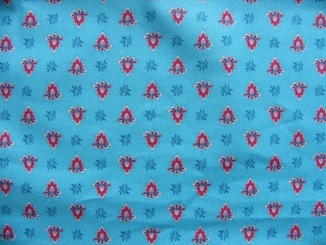 画像1: 「即納F」はぎれ80x50:アヴィニヨン(プロヴァンス風、水色ベース・ピンク)/80g (1)