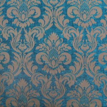 画像1: 「即納F」はぎれ70x50:ベルベット・ナヴァリア(ダマスク、ブルー)/175g (1)