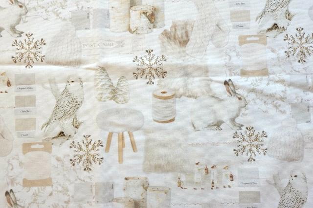 画像1: 「即納J」はぎれ70x50:真っ白な冬(うさぎ、ふくろう)/ 95g (1)