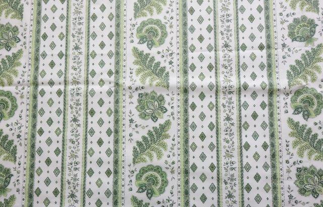 画像1: 「J即納」はぎれ80x50:プロヴァンス風グリーン(白ベースグリーン、ストライプ)/70g (1)