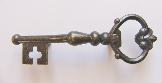 画像1: 「即納F」取っ手:カギ型12x4cm(アンティークゴールド)/55g (1)