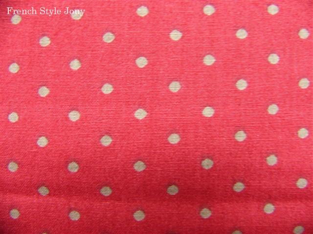 画像1: 「F在庫」布:ドッツ(赤ベースグレイ)長さ50cm単位 (1)