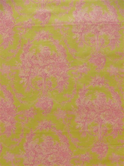 画像1: 「即納J/F」布:メラニー(グリーンベースピンク)長さ50cm単位 /80g (1)