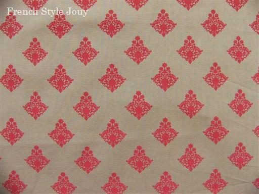 画像1: 「J即納」布:ラトゥナ(グレイベース赤)長さ50cm単位 (1)