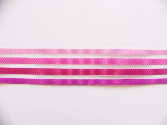 画像1: 「移動中」ストライプリボン15mm(ピンク4色)/4g (1)
